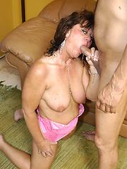 Granny GILF takes a big black dick!