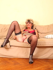 Sexy senior slut fucks with 1 foot in the grave!