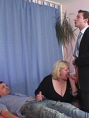 Chubby mature blonde gets a big load of jizz spilled on her face and tummy