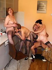 Three mature sluts take on one hard cock