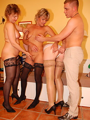 One lucky guy servicing group of matures