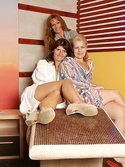 Photo shoots from mature sauna relaxing