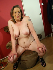 Granny losts her shy and shows old pussy