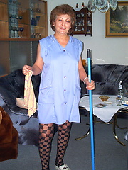 Mature housemaid getting naked and dirty