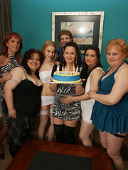 Mature lesbians sex orgy after birthday party
