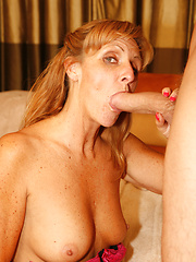 Mom weared in sexy lingerie and stockings and sucking hard cock