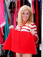 Blonde mom enjoying herself after shopping