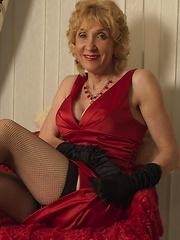 Naughty blonde English mature slut stripping down