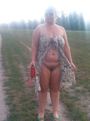 Mature amateurs showing tits for everybody outdoors