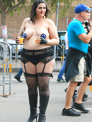 Older women flashing right in a town