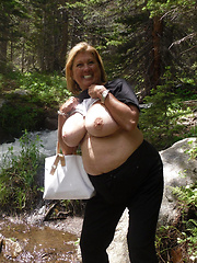 Wild mature whores flashing in a woods