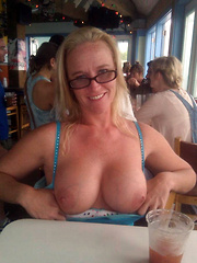 Older moms and grannies flashing in country cafe
