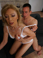 Horny housewife playing with her toy boy